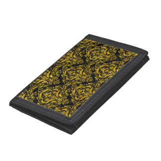 DAMASK1 BLACK MARBLE & YELLOW MARBLE TRIFOLD WALLET