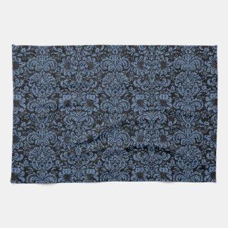 DAMASK2 BLACK MARBLE & BLUE DENIM KITCHEN TOWEL