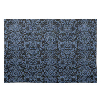 DAMASK2 BLACK MARBLE & BLUE DENIM PLACEMAT