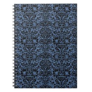 DAMASK2 BLACK MARBLE & BLUE DENIM (R) SPIRAL NOTEBOOK