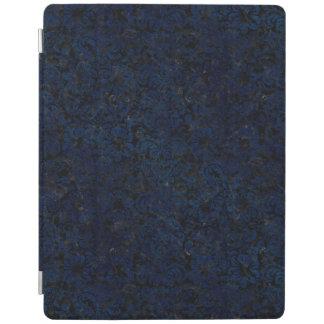 DAMASK2 BLACK MARBLE & BLUE GRUNGE iPad COVER
