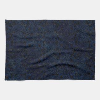DAMASK2 BLACK MARBLE & BLUE GRUNGE KITCHEN TOWEL