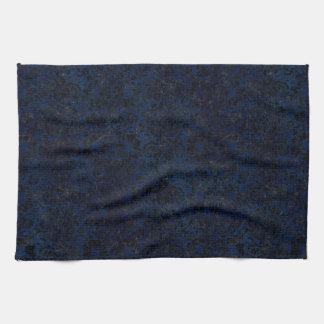 DAMASK2 BLACK MARBLE & BLUE GRUNGE (R) KITCHEN TOWEL