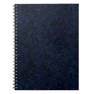 DAMASK2 BLACK MARBLE & BLUE GRUNGE (R) NOTEBOOKS