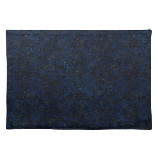 DAMASK2 BLACK MARBLE & BLUE GRUNGE (R) PLACEMAT