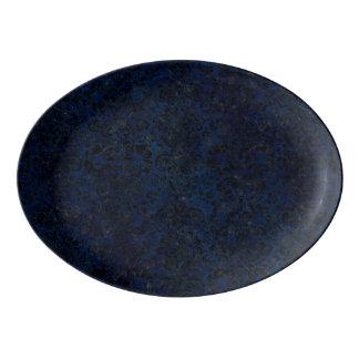 DAMASK2 BLACK MARBLE & BLUE GRUNGE (R) PORCELAIN SERVING PLATTER