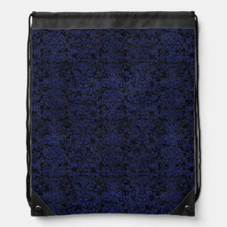 DAMASK2 BLACK MARBLE & BLUE LEATHER DRAWSTRING BAG
