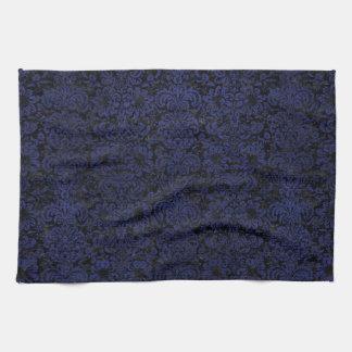 DAMASK2 BLACK MARBLE & BLUE LEATHER KITCHEN TOWEL