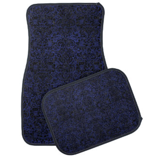DAMASK2 BLACK MARBLE & BLUE LEATHER (R) CAR MAT