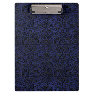 DAMASK2 BLACK MARBLE & BLUE LEATHER (R) CLIPBOARD