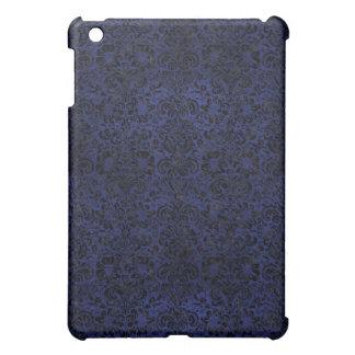 DAMASK2 BLACK MARBLE & BLUE LEATHER (R) iPad MINI CASE