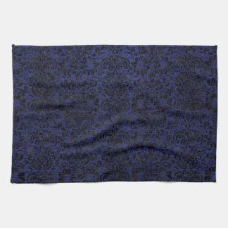 DAMASK2 BLACK MARBLE & BLUE LEATHER (R) KITCHEN TOWEL