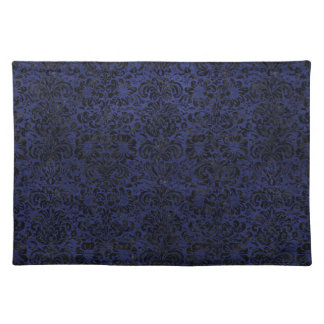DAMASK2 BLACK MARBLE & BLUE LEATHER (R) PLACEMAT