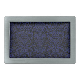 DAMASK2 BLACK MARBLE & BLUE LEATHER RECTANGULAR BELT BUCKLES