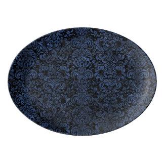 DAMASK2 BLACK MARBLE & BLUE STONE PORCELAIN SERVING PLATTER
