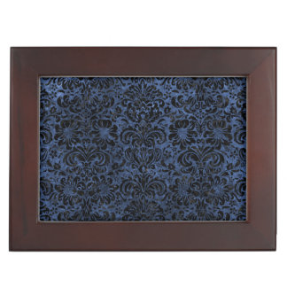 DAMASK2 BLACK MARBLE & BLUE STONE (R) KEEPSAKE BOX
