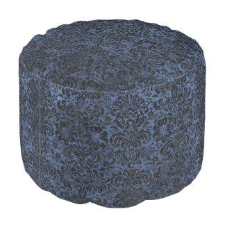 DAMASK2 BLACK MARBLE & BLUE STONE (R) POUF