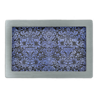 DAMASK2 BLACK MARBLE & BLUE WATERCOLOR BELT BUCKLE