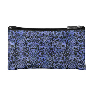 DAMASK2 BLACK MARBLE & BLUE WATERCOLOR COSMETIC BAG