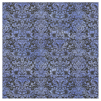 DAMASK2 BLACK MARBLE & BLUE WATERCOLOR FABRIC