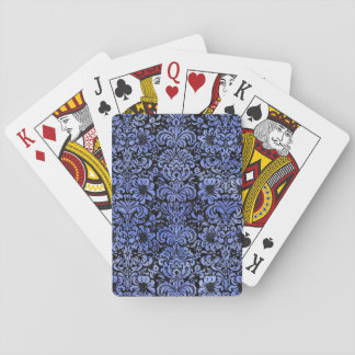 DAMASK2 BLACK MARBLE & BLUE WATERCOLOR PLAYING CARDS