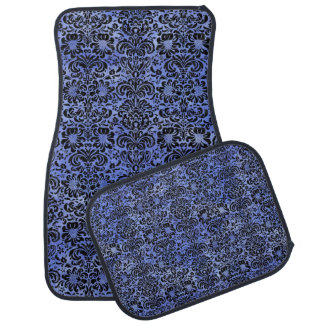 DAMASK2 BLACK MARBLE & BLUE WATERCOLOR (R) CAR MAT