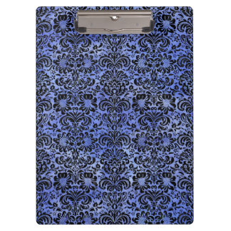 DAMASK2 BLACK MARBLE & BLUE WATERCOLOR (R) CLIPBOARD