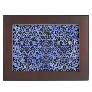 DAMASK2 BLACK MARBLE & BLUE WATERCOLOR (R) KEEPSAKE BOX