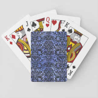 DAMASK2 BLACK MARBLE & BLUE WATERCOLOR (R) PLAYING CARDS