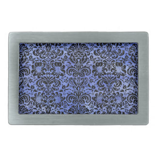 DAMASK2 BLACK MARBLE & BLUE WATERCOLOR (R) RECTANGULAR BELT BUCKLE