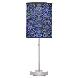 DAMASK2 BLACK MARBLE & BLUE WATERCOLOR TABLE LAMP