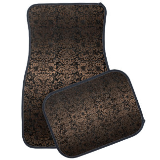 DAMASK2 BLACK MARBLE & BRONZE METAL CAR MAT