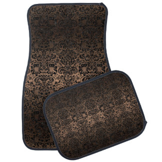 DAMASK2 BLACK MARBLE & BRONZE METAL (R) CAR MAT