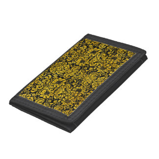 DAMASK2 BLACK MARBLE & YELLOW MARBLE TRI-FOLD WALLET