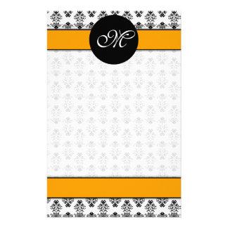damask 01 (orange) unlined, M Stationery