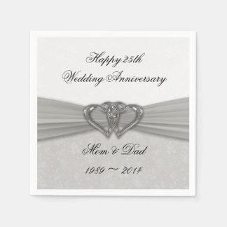 Damask 25th Wedding Anniversary Paper Napkins