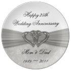Damask 25th Wedding Anniversary Porcelain Plate