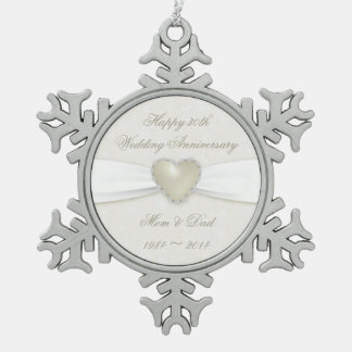 Damask 30th Wedding Anniversary Pewter Ornament