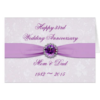 Damask 33rd Wedding Anniversary Greeting Card