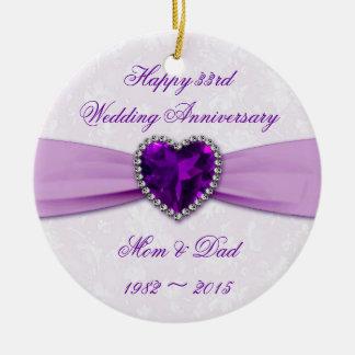 Damask 33rd Wedding Anniversary Round Ornament