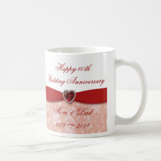 Damask 40th Wedding Anniversary Design Coffee Mug