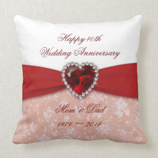 Damask 40th Wedding Anniversary Design Throw Pillows