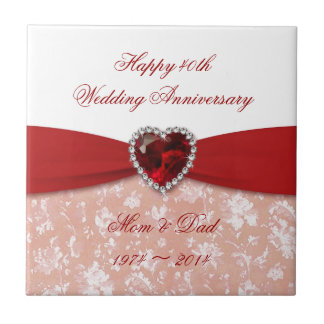 Damask 40th Wedding Anniversary Design Tile