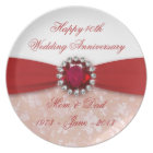 Damask 40th Wedding Anniversary Plate