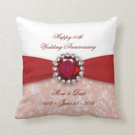 Damask 40th Wedding Anniversary Throw Pillow