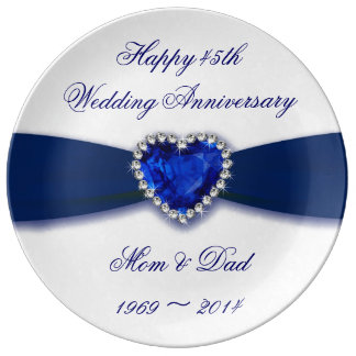 Damask 45th Wedding Anniversary Porcelain Plate