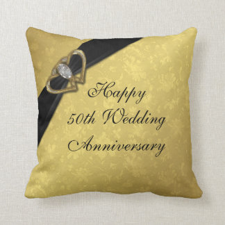 Damask 50th Wedding Anniversary Throw Pillow