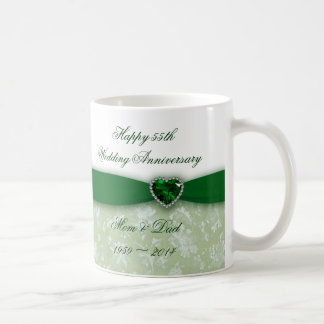 Damask 55th Wedding Anniversary Coffee Mug