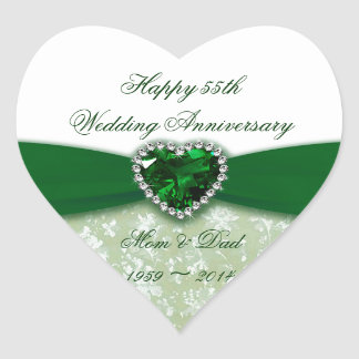 Damask 55th Wedding Anniversary Heart Sticker