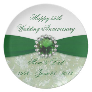 Damask 55th Wedding Anniversary Melamine Plate